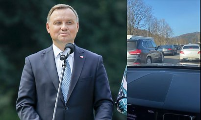 Andrzej Duda ominął korek wracając z nart! Kolumna prezydencka jechała na sygnale! Jest nagranie