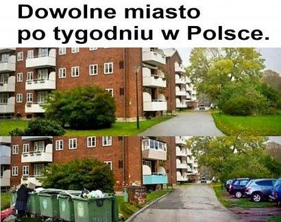 """Mem """"dowolne miasto po tygodniu w Polsce"""" robi furorę w sieci! Faktycznie tak jest?"""