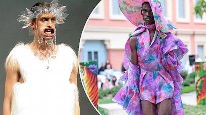 Moda męska 2021 z wybiegów - pończochy, szpilki, podwiązki, sukienki i prześwitujące bluzki