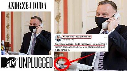 Prezydent Andrzej Duda rozmawiał z królem Jordanii przez niepodłączony telefon? Powstały memy