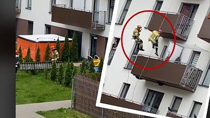 Brawurowa akcja strażaków na krakowskim osiedlu! Mężczyzna groził, że skoczy z balkonu!