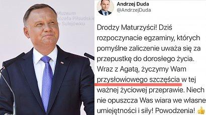 Prezydent Andrzej Duda znów zaliczył wpadkę przy okazji życzeń dla maturzystów. Wysyp MEMÓW