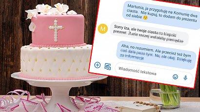Chciała do prezentu dla chrześnicy dołożyć dwa ciasta. Siostra nieładnie jej odpisała