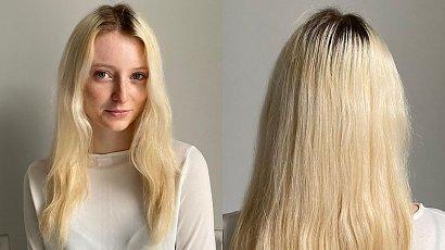 Julia miała platynowe blond włosy. Fryzjer przefarbował ją na rudo i obciął grzywkę curtain bang