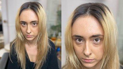 Przyszła do fryzjera z taką fryzurą. Grzywka curtain bang i nowy kolor włosów kompletnie ją odmieniły!