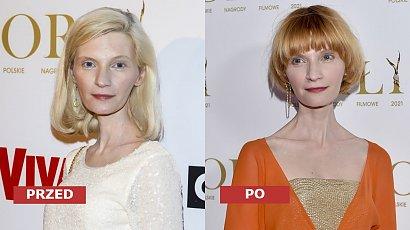Orły 2021: Agata Buzek ma nową fryzurę - cieniowany boyfriend bob z grzywką skrzyżowany z bowl cut! Dobrze jej w rudych włosach?