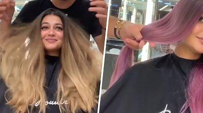 Miała dość ombre hair. Fryzjer sięgnął po szalony kolor farby i wyszło... genialnie!