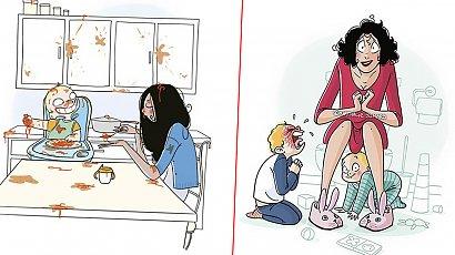 20 zabawnych i szczerych ilustracji pokazujących, jak to jest mieć dzieci. Sama prawda!