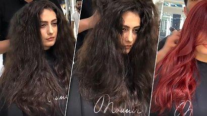 Miała dość czarnych, długich włosów. Fryzjer zaszalał! Zafarbował włosy na ognistą czerwień. WOW!