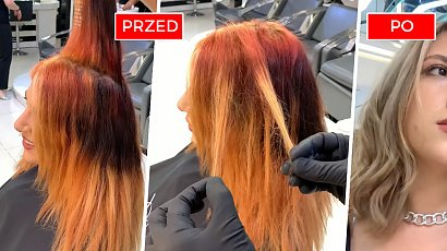 Miała spalone włosy po same końce. Fryzjer dokonał cudu! Na jej głowie wylądował miodowy blond