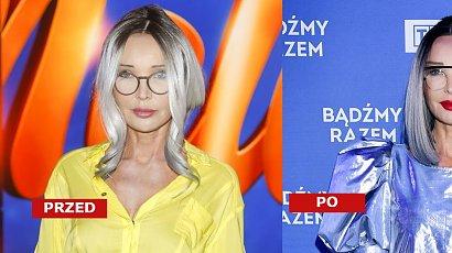 Ewa Minge w long bobie i niebieskim ombre na ramówce TVP. Dobrze jej w srebrnej sukience?