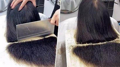 """Fryzjer używa tasaka do ścinania włosów. """"Mam jedno pytanie... Czy on jest mądry?!"""" - pyta internauta"""