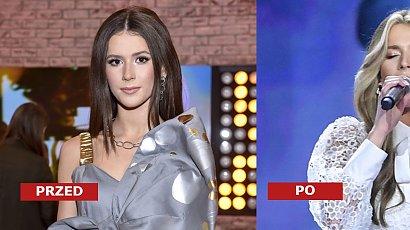 Roksana Węgiel w miodowym blondzie i grzywce curtain bangs ubrana cała na biało na Festiwalu Muzyki Chrześcijańskiej