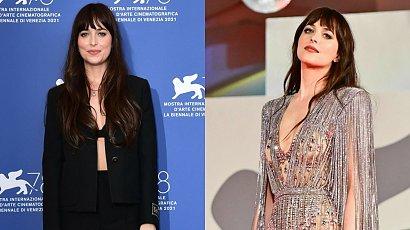 """Dakota Johnson z """"50 twarzy Greya"""" w damskim garniturze, ale to srebrna sukienka była sztosem! A gdy się odwróciła..."""