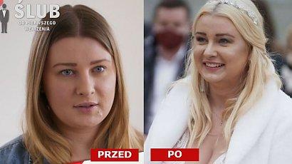 """Ślub od pierwszego wejrzenia: Julia lepiej wyglądała w miodowym blondzie? Jej suknia ślubna też nie przypadła fanom do gustu. """"Wywaliła biust na stół"""""""