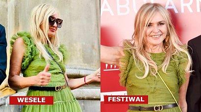 Monika Olejnik na festiwalu w Gdyni w tej samej zielonej tiulowej sukience, co na weselu Edwarda Miszczaka i Anny Cieślak!