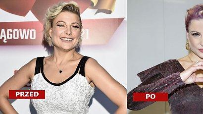 Magda Narożna w różowo-fioletowych włosach na pokazie mody! Internauci wylali na nią wiadro pomyj: Masakra! Teraz lepiej?
