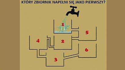 Który pojemnik jako pierwszy napełni się wodą? Tylko najbystrzejsi potrafią rozwiązać tę zagadkę!