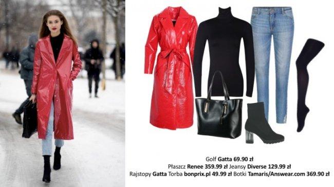 Klasyczny casualowy zestaw składający się z jeansów, czarnego golfu, botków na delikatnym obcasie i klasycznych dodatków, to zawsze dobry wybór. Przełamujemy zwyczajność stylizacji, dobierając do niej czerwony, lateksowy płaszcz.