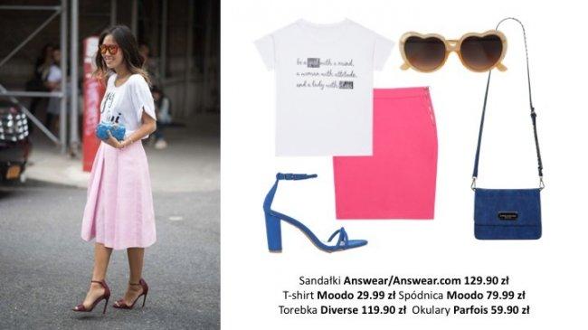 Basicowy biały t-shirt wybieramy udekorowany delikatnym napisem i przełamujemy klasyczny look za pomocą soczystej kolorystyki naszych dodatków.
