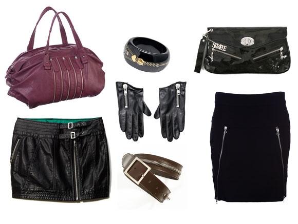 torba, skórzana spódnica Reserved; bransoletka Aldo; rękawiczki H&M; pasek Stefanel; kopertówka Simple; spódnica Mohito