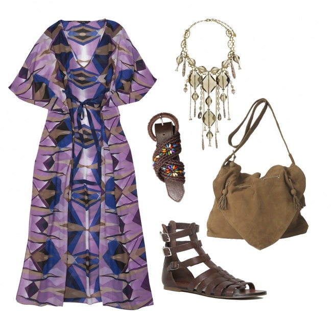 Sukienka: F&F; naszyjnik: Pilgrim; buty: Vagabondo; torebka: Stefanel; pasek: C&A