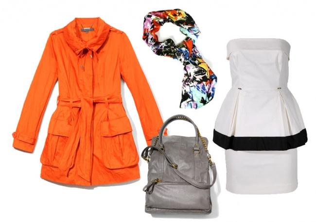 Płaszcz: Reserved; szal: Solar; torba: Mohito; sukienka: Simple