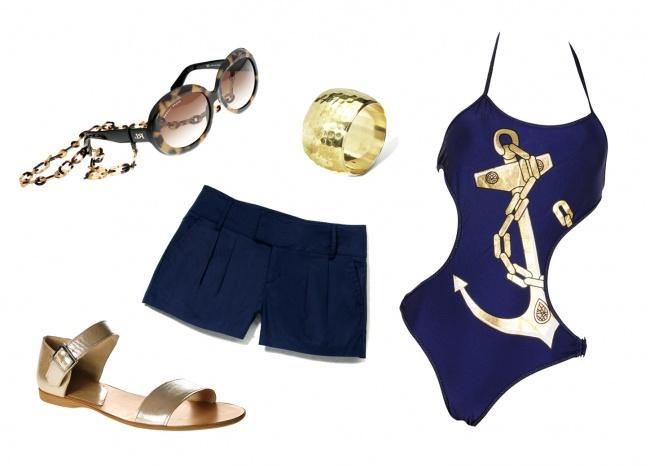 Okulary: Ralph Lauren; buty: Gino Rossi; spodenki, bransoletka: Reserved; kostium: H&M