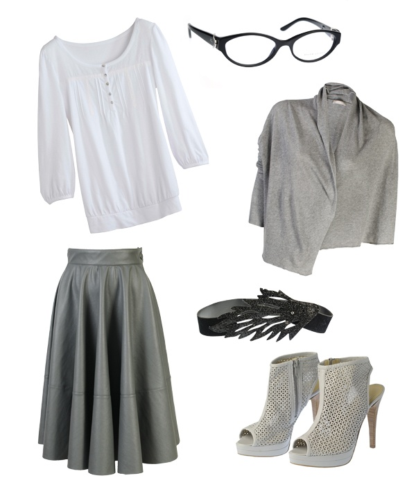 Bluzka Camaieu, okulary Ralph Lauren, narzutka Stefanel, spódnica Gatta, pasek Stereo, buty Simple,