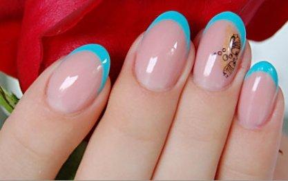 niebieski french manicure