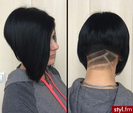 Czarne Tribale - wzory na głowie Alternatywne Krótkie Fryzury