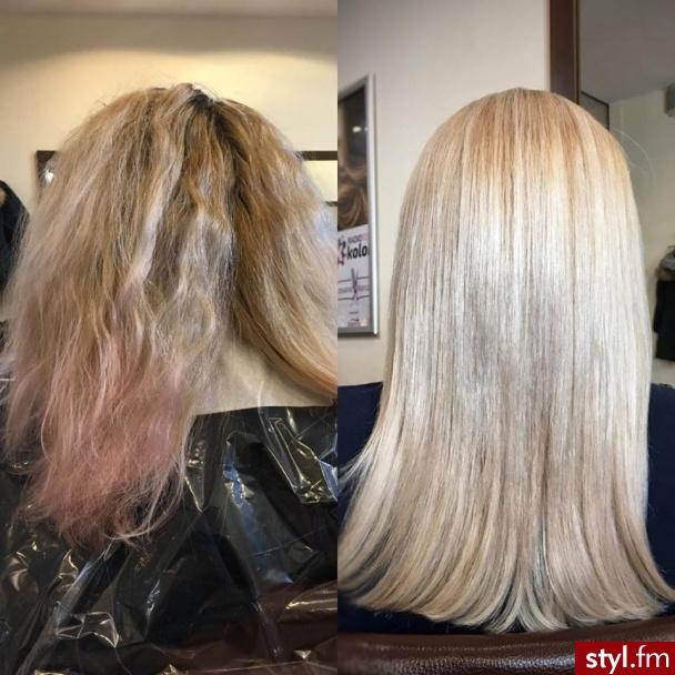 sombre z Olaplex fryzjer Warszawa salon FOR HAIR - Blond Rozpuszczone Proste Na co dzień Średnie Fryzury