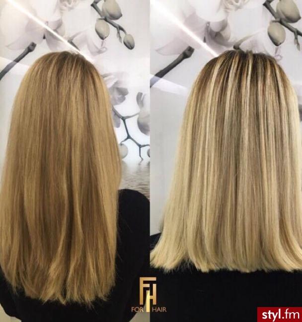 Koloryzacja z olaplex - Blond Rozpuszczone Proste Na co dzień Długie Fryzury