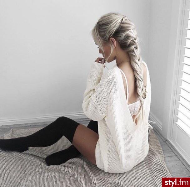 Blond Warkocze Proste Konkursowe, pokazowe Długie Fryzury