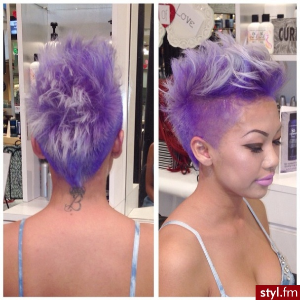 Kolorowe Irokez damski Proste Na co dzień Krótkie Fryzury