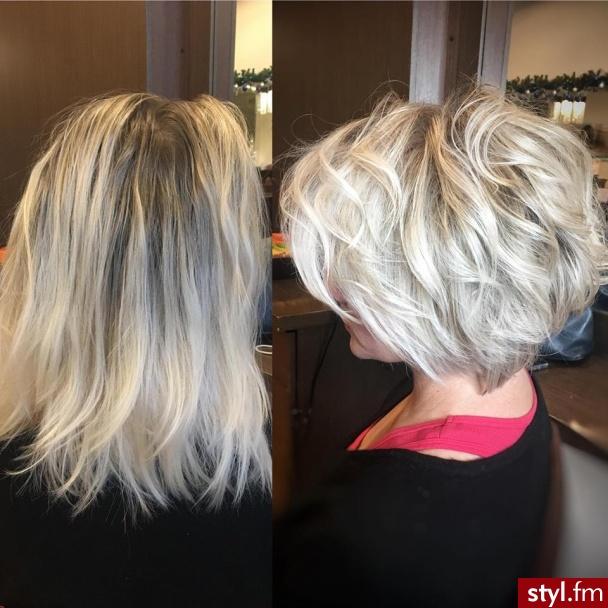 fryzjer warszawa sombre z Olaplex salon for hair - Blond Rozpuszczone Proste Na co dzień Krótkie Fryzury