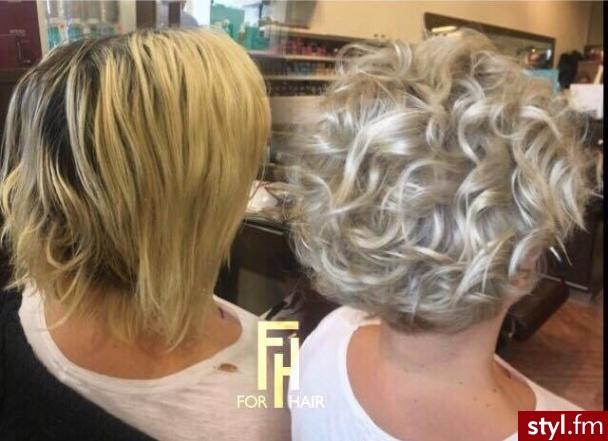 Koloryzację z olaplex wykonała Małgosia. Salon For Hair - Blond Rozpuszczone Kręcone Na co dzień Krótkie Fryzury