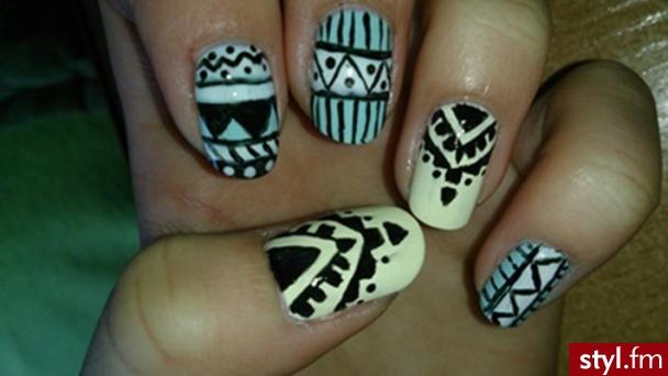 Azteckie :) - Kwadratowe Malowane farbkami Naturalne Paznokcie