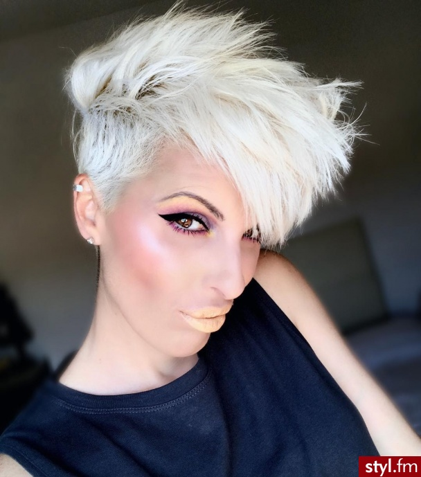 Blond Irokez damski Proste z grzywką Na co dzień Krótkie Fryzury