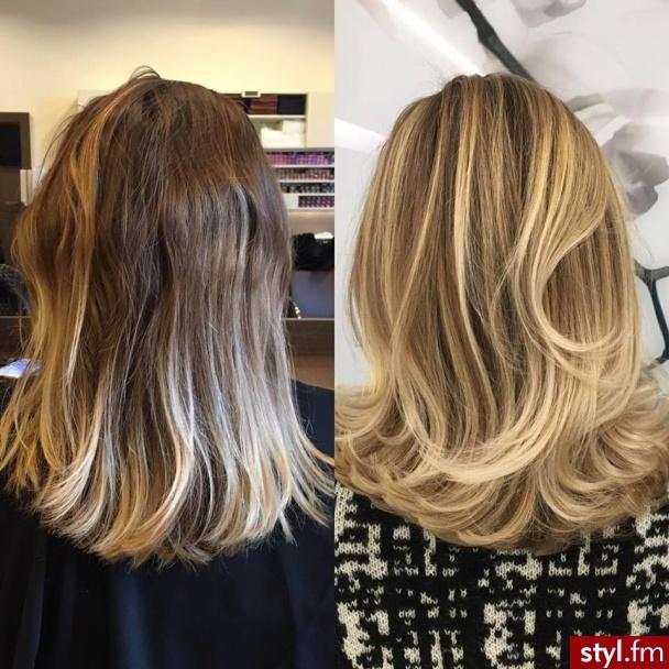 Koloryzacja z olaplex - Blond Rozpuszczone Kręcone Na co dzień Średnie Fryzury