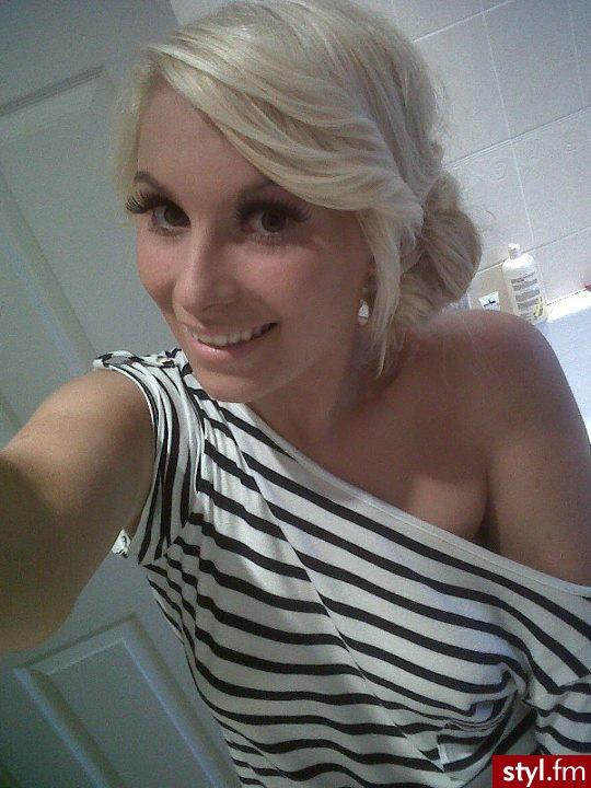 Blond Kok Proste z grzywką Wieczorowe Krótkie Fryzury