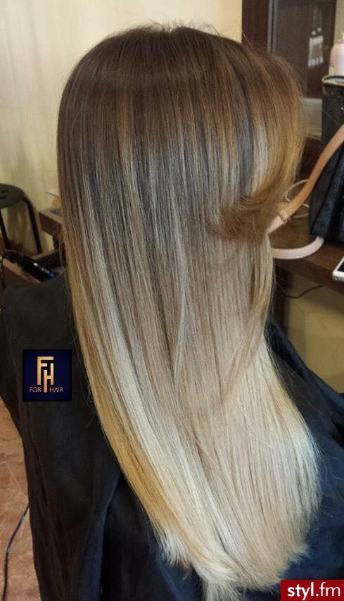 Sombre z Olaplex http://forhairsobieski.pl/ - Blond Rozpuszczone Proste z grzywką Na co dzień Długie Fryzury