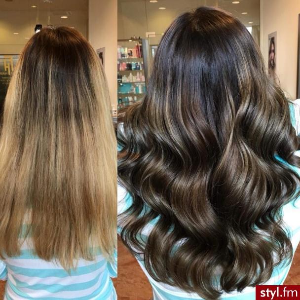 Piękne sombre na włosach długich. https://forhairsobieski.pl/ - Brązowe Rozpuszczone Kręcone Wieczorowe Długie Fryzury