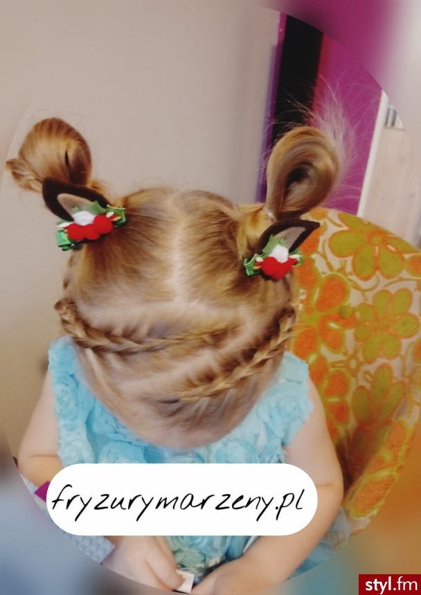 Różki z włosów i dwa warkocze holenderskie - Średnie Fryzury