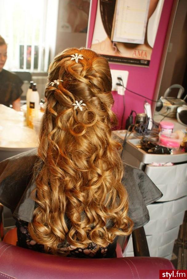 Blond Rozpuszczone Kręcone Ślubne Długie Fryzury