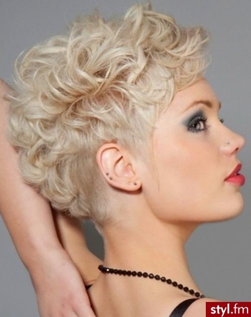 Blond Rozpuszczone Kręcone Na co dzień Krótkie Fryzury