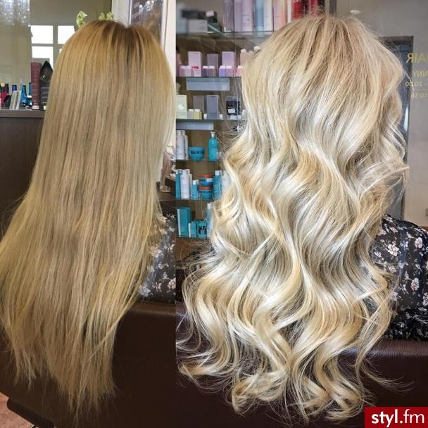 sombre z Olaplex fryzjer Warszawa salon FOR HAIR długie włosy - Blond Rozpuszczone Kręcone Wieczorowe Długie Fryzury