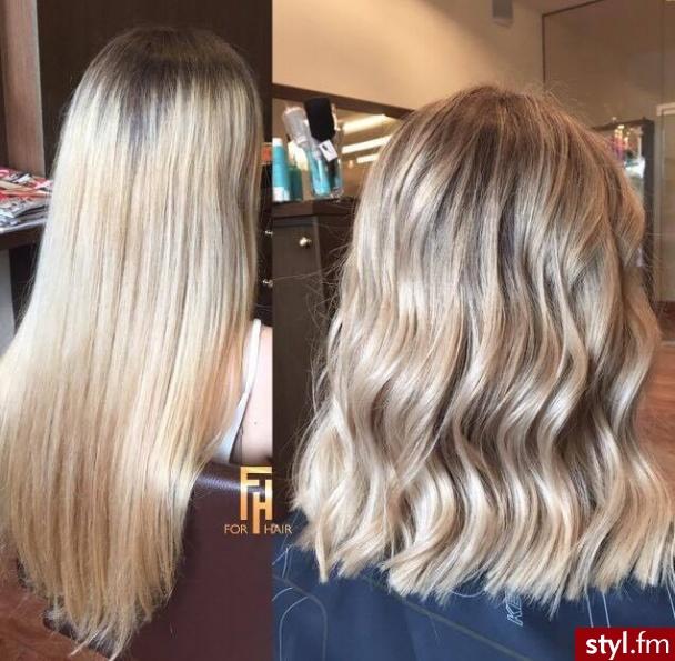 Metamorfoza koloryzacja sombre - Blond Rozpuszczone Proste Na co dzień Długie Fryzury