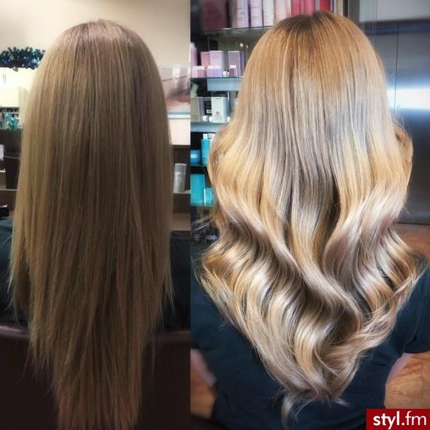 fryzjer warszawa sombre z Olaplex salon for hair - Blond Rozpuszczone Kręcone z grzywką Na co dzień Długie Fryzury