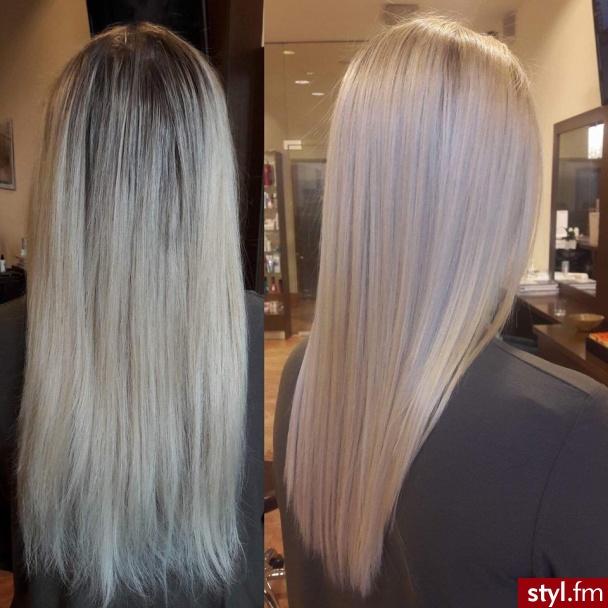 Dodaj sombre z Olaplex fryzjer Warszawa salon FOR HAIR rose gold - Blond Rozpuszczone Proste Na co dzień Długie Fryzury